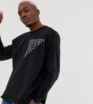 Reclaimed Vintage inspired branded long sleeve skate t-shirt in black-White