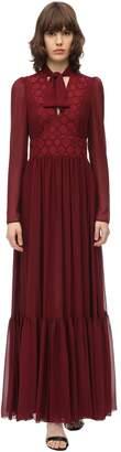 Giamba LONG LACE CHIFFON DRESS