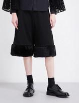 Noir Kei Ninomiya Faux fur-trim wide-leg wool shorts