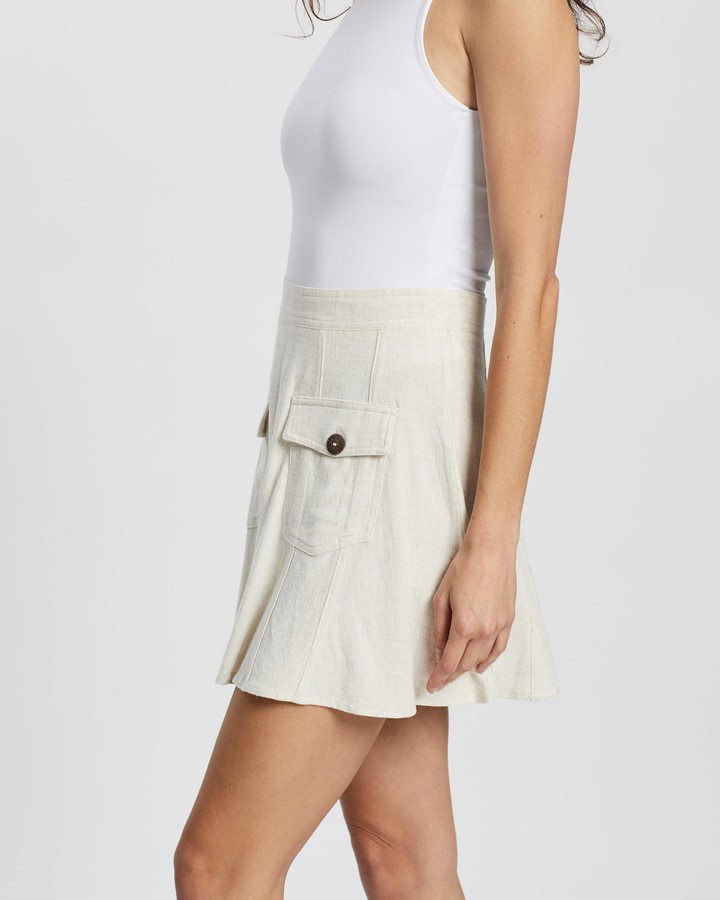 Thumbnail for your product : Atmos & Here Atmos&Here - Women's Neutrals Mini skirts - Fia Linen Blend Skirt - Size 10 at The Iconic