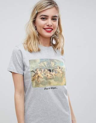 Asos Design DESIGN t-shirt with photographic cherub print-Gray