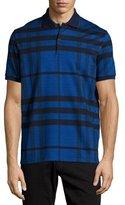 Burberry Modern Check Stretch-Cotton Polo Shirt, Navy