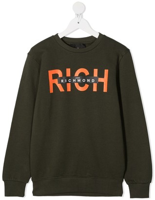 John Richmond Junior Slogan Logo Print Cotton Sweatshirt