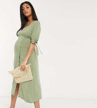 Asos DESIGN Maternity v neck midi tea dress with buttons and tie sleeves in khaki