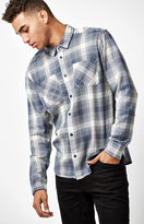 RVCA Neutral Plaid Flannel Long Sleeve Button Up Shirt