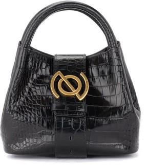 Zanellato Shoulder Bag Zanella Model Zoe Baby Portrait Line In Black Leather With Crocodile Print