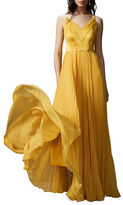 Kay Unger Pleated V-Neck Stretch Silk Gown