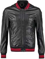 Criminal Damage Faux Leather Jacket Black/red