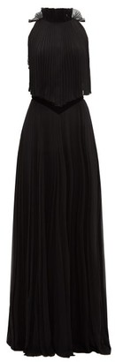 Givenchy Open-back Pleated Silk-chiffon Gown - Womens - Black