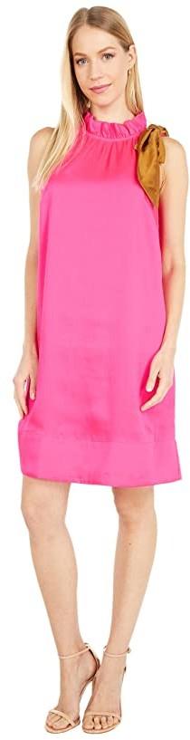 J.Crew Shift Dress with Neck Tie Bow (Neon Fuchsia) Women's Dress