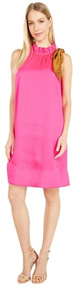 J.Crew Shift Dress with Neck Tie Bow (Neon Fuchsia) Women's Dress