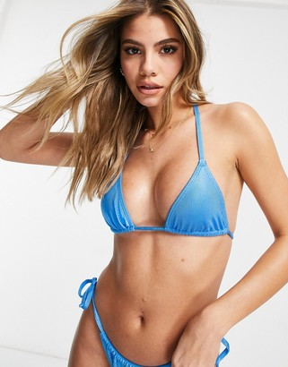ASOS DESIGN mix and match mirror satin rib triangle bikini top in cobalt blue