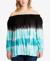 Jessica Simpson Trendy Plus Size Tie-Dyed Off-The-Shoulder Tunic