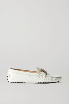 Tod's Gommino Catena Embellished Croc-effect Leather Loafers - Off-white