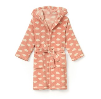 La Redoute Collections Fluffy Hooded Bathrobe with Cloud Print, 2-12 Years