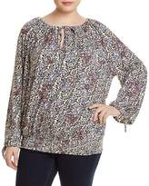 Lucky Brand Plus Floral Smocked-Waist Top
