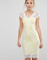 Paper Dolls V Neck Pencil Dress In All Over Lace