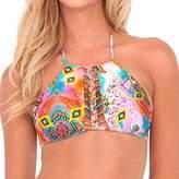 Luli Fama Women's Boho Chic Strings to Braid Halter Bikini Top