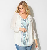 Avenue Floral Embroidered Peasant Top