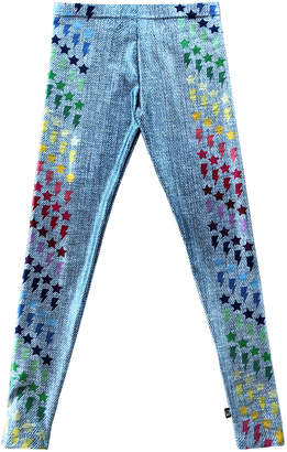 Terez Girl's Blue Jeans Print Stars & Lighting Bolt Leggings, Size S-XL