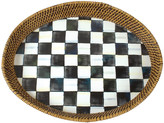 Mackenzie Childs MacKenzie-Childs - Courtly Check Rattan and Enamel Tray - Large