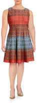 Gabby Skye Ombre Print Fit-and-Flare Dress