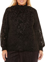 Liz Claiborne Smocked Neck Burnout Blouse-Womens Plus