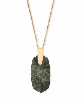 Kendra Scott Inez Gold Long Pendant Necklace In Sage Mica