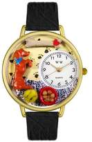 Whimsical Watches Unisex G0130009 Begging Dog Black Skin Leather Watch