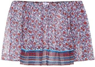 Poupette St Barth Fleur embroidered cotton top