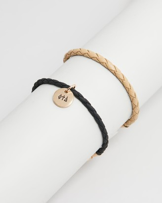 ICON BRAND Plaited Cord Wristwear with Engraved Disk Drop