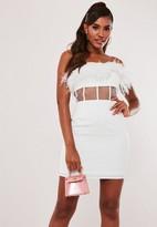 Missguided White Feather Mesh Waist Mini Dress