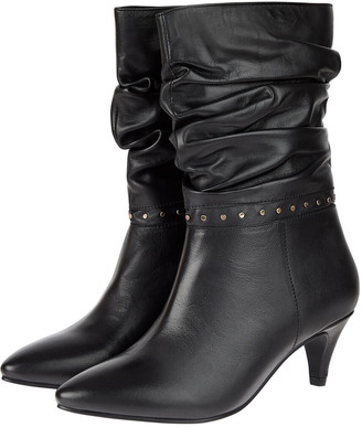 Monsoon Slouch Studded Leather Ankle Boots Black