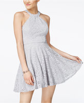 B. Darlin Juniors' Glitter Lace Fit & Flare Dress