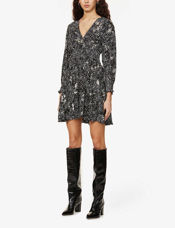 Maje Robany sequin-embellished crepe mini dress