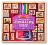 Melissa & Doug Princess & Fairy Wooden Stamp Set with 2 Color Stamp Pad and 5 Markers