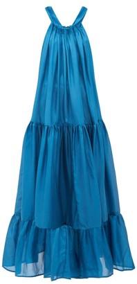 Kalita Asiri Tiered Silk Maxi Dress - Womens - Green