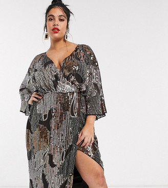 Asos DESIGN Curve midi kimono dress in pearl and sequin patched embellishment-Brown