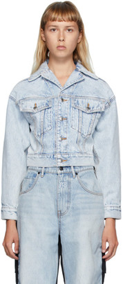 Alexander Wang Blue Denim Lapel Collar Jacket
