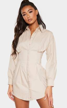 PrettyLittleThing Stone Fitted Waist Shirt Dress