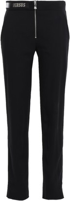 Versace Leather-trimmed Chainmail-embellished Crepe Slim-leg Pants