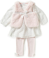 Starting Out Baby Girls 3-24 Months 3-Piece Faux-Fur Vest, Chiffon Top, and Solid Leggings Set