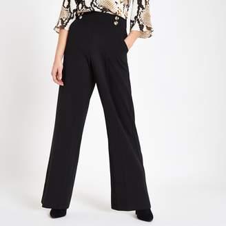 River Island Womens Petite Black button detail wide leg trousers