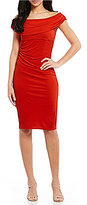 David Meister Off-The-Shoulder Jersey Sheath Dress