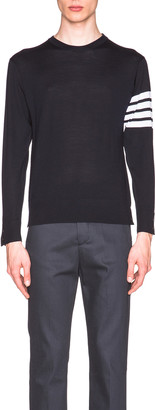 Thom Browne Classic Merino Crewneck Sweater in Navy | FWRD