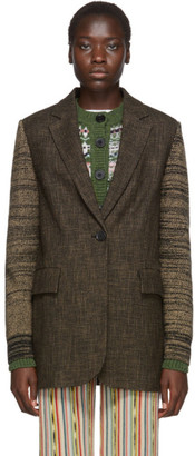 M Missoni Brown Knit Sleeves Blazer