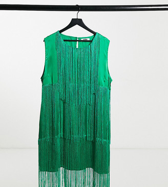ELVI Plus statement fringe dress in green