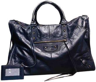 Balenciaga Weekender Navy Leather Handbags