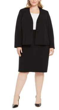 Le Suit Plus Size Jeweled-Button Skirt Suit