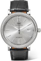 IWC SCHAFFHAUSEN - Portofino Automatic 40 Alligator, 18-karat White Gold And Diamond Watch